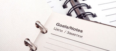 Goals and notes in a diary